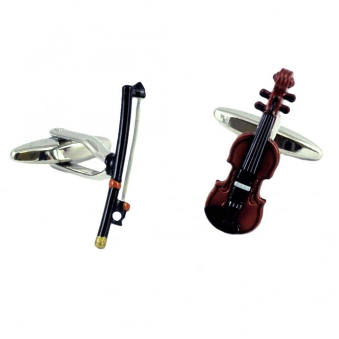 Violin & Bow Novelty Cufflinks
