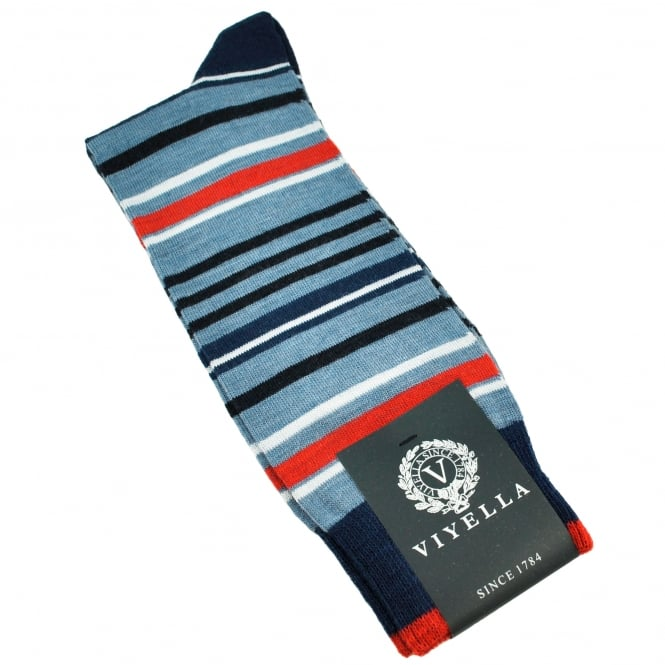 Viyella Airforce Blue, Royal, Red & White Striped Wool Blend Shortie Men's Socks