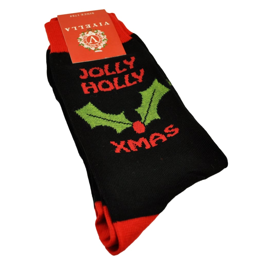 Luxury Christmas Stockings Uk.Viyella Jolly Holly Black Men S Novelty Christmas Socks