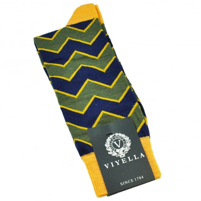 Viyella Lovat Green, Mustard Yellow & Royal Blue Zig Zag Wool Blend Shortie Men's Socks