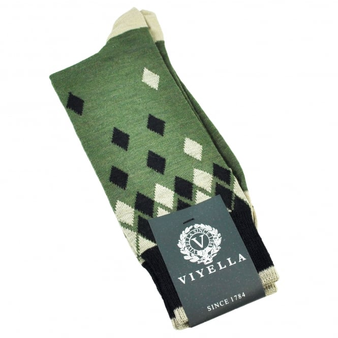 Viyella Lovat Green With Black & Beige Diamonds Wool Blend Shortie Men's Socks