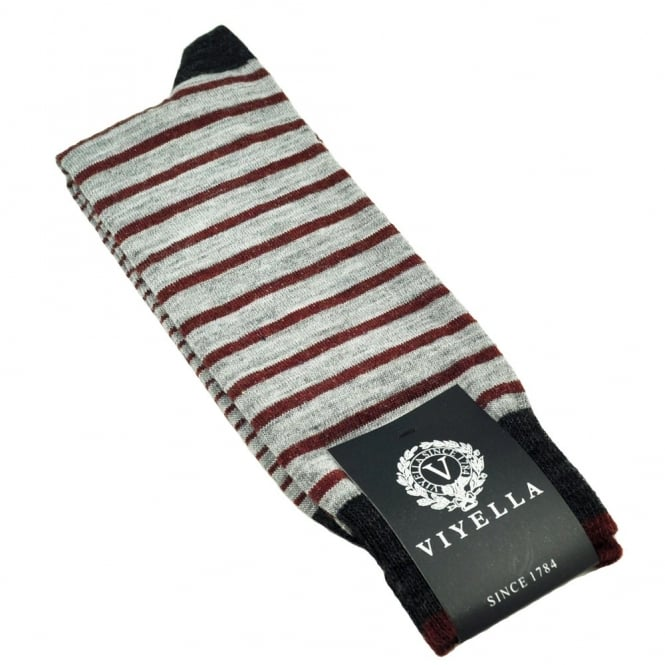 b1d6eff39f2 viyella mid grey horizontal striped shortie mens socks from uk. TIESPLANET