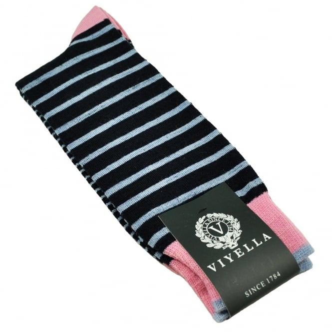 03bdc949ced viyella navy blue horizontal striped shortie mens socks from uk. TIESPLANET