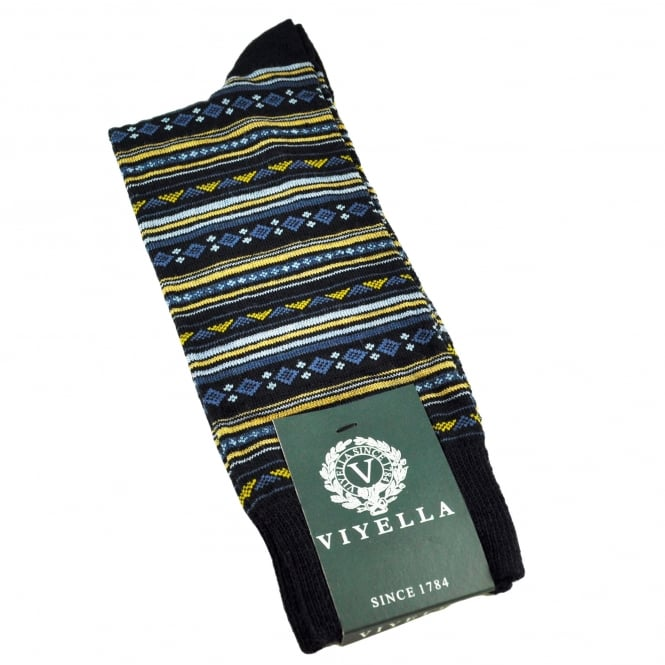 Viyella Navy Blue, Petrol Blue, Light Blue & Gold Patterned Wool Rich Men's Socks