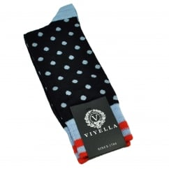 Viyella Navy & Light Blue Polka Dot Wool Blend Shortie Men's Socks