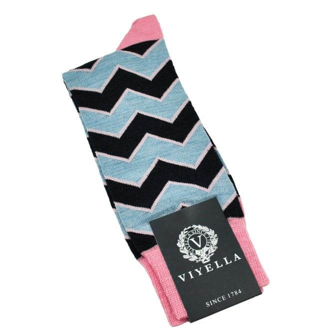 Viyella Navy, Pink & Light Blue Zig Zag Wool Blend Shortie Men's Socks