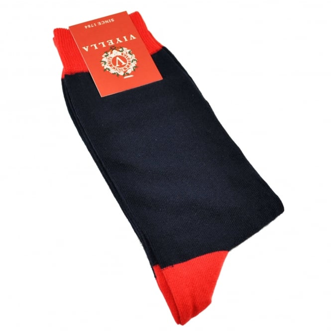 Viyella Navy & Red Heel & Toe Men's Novelty Christmas Socks