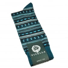 Viyella Petrol Blue, Turquoise, Black & Grey Patterned Wool Rich Men's Socks