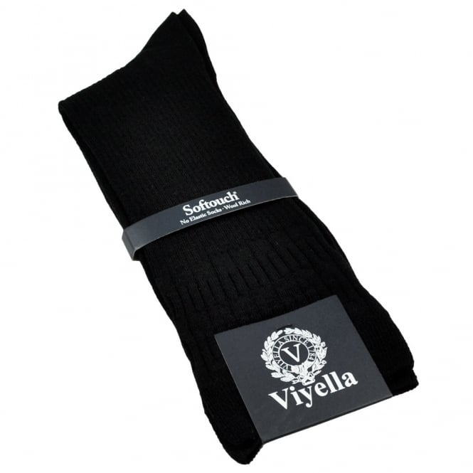 Viyella Plain Black Softouch No Elastic Wool Men's Socks