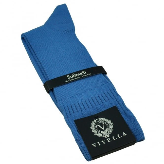 Viyella Plain Blue Softouch No Elastic Cotton Men's Socks
