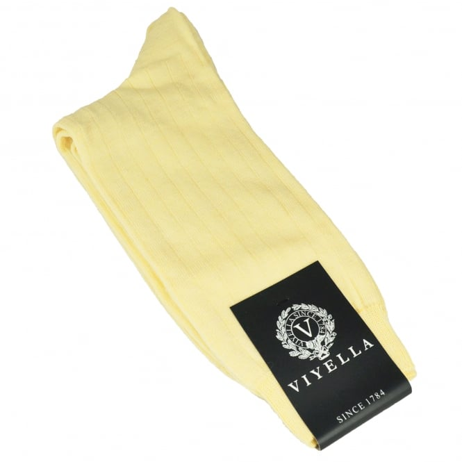 Viyella Plain Lemon Yellow Ribbed Wool Rich Shortie Men's Socks