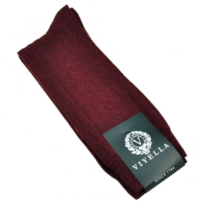 Viyella Plain Mulberry Red Ribbed Wool Rich Shortie Men's Socks