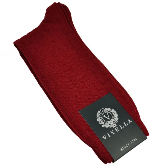 Viyella Plain Wine Red Ribbed Wool Rich Shortie Men's Socks
