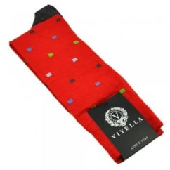 Viyella Poppy Red Multicoloured Square Design Shortie Men's Socks