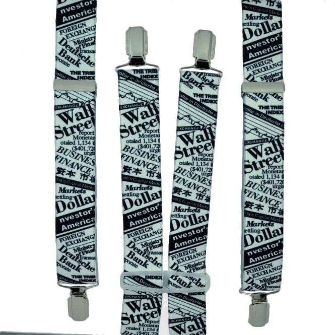 Wall Street Black & White Trouser Braces
