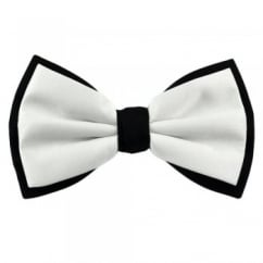 White & Black Double Coloured Bow Tie