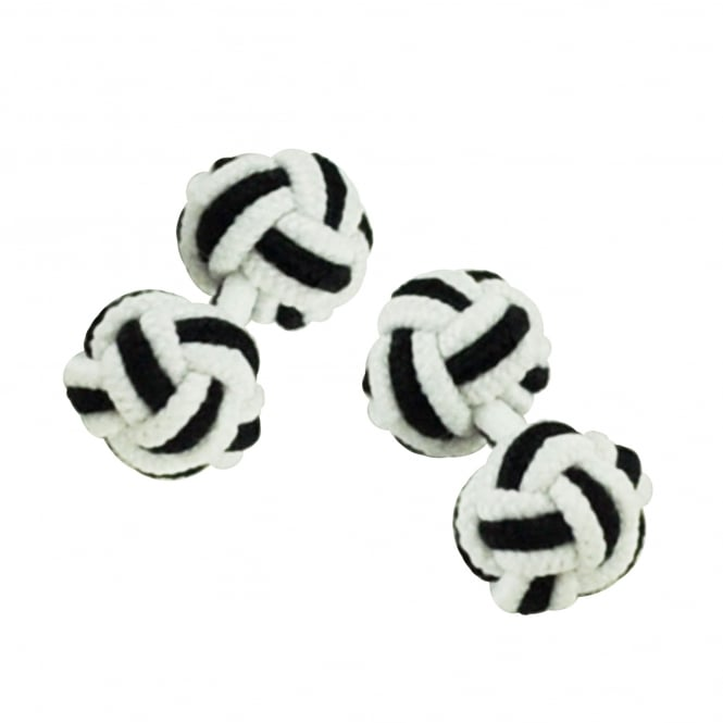 white and black elastic knot cufflinks