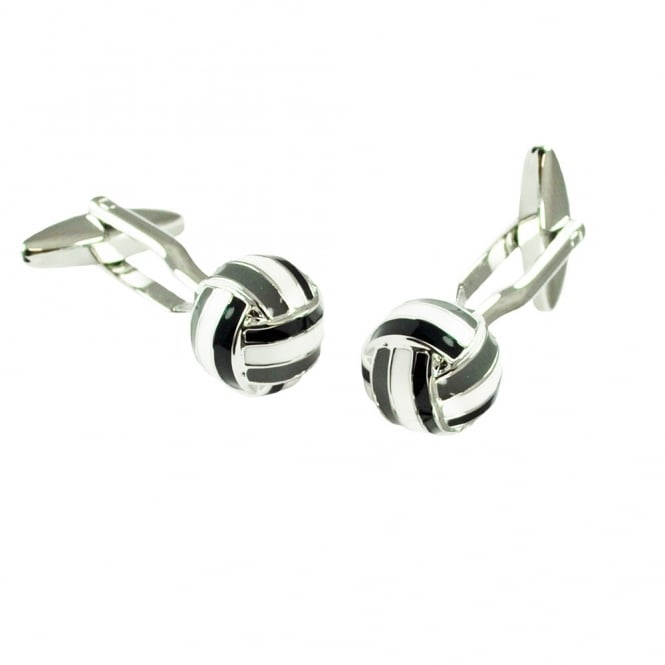 White, Black & Grey Retro Football Cufflinks