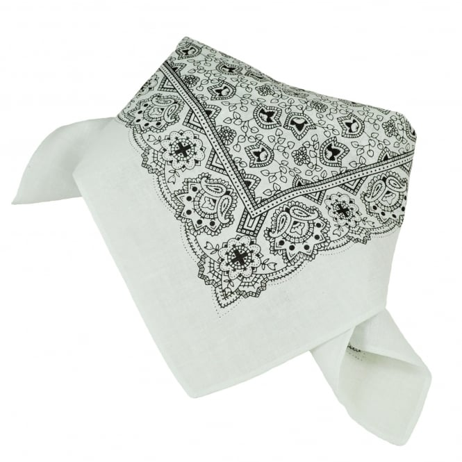 White & Black Paisley Patterned Bandana Neckerchief