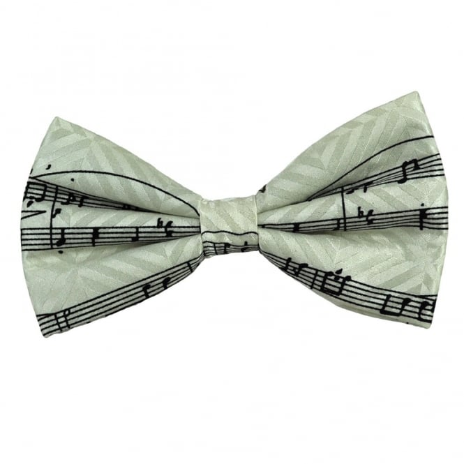 White & Black Sheet Music Novelty Silk Bow Tie