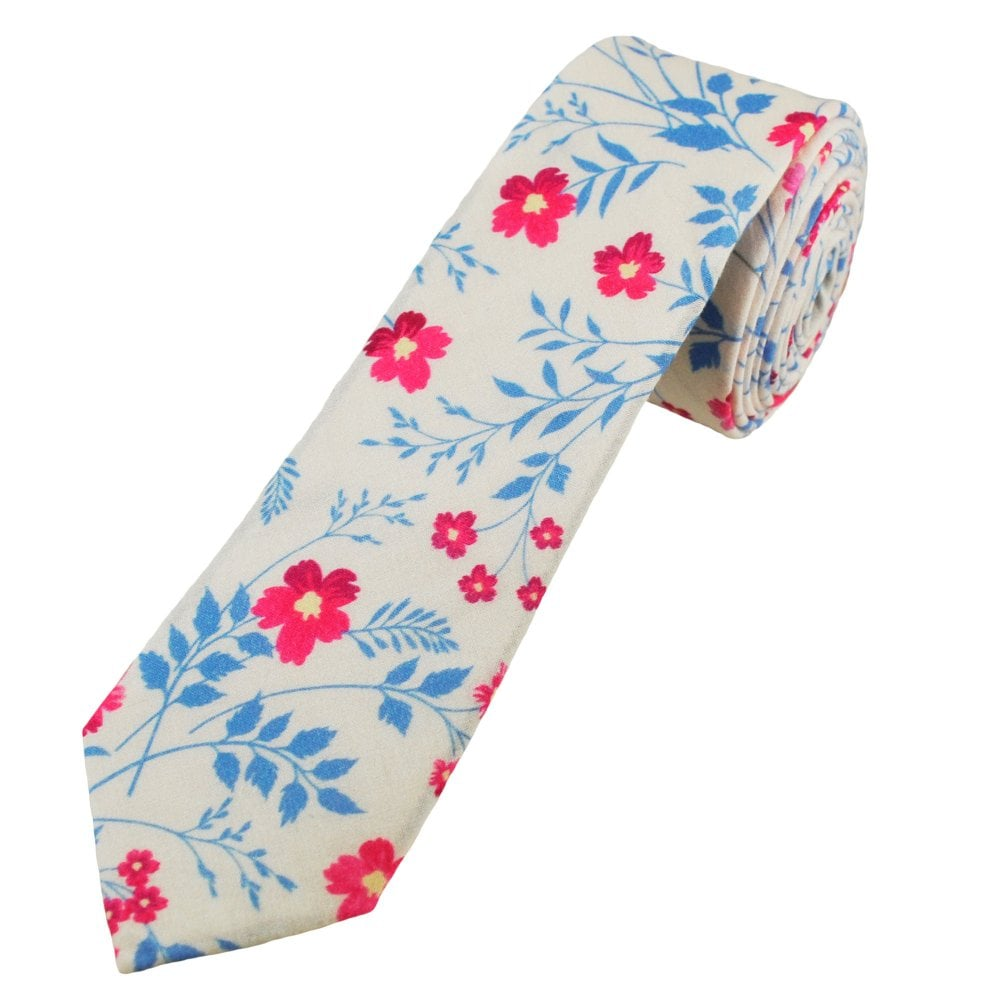 50f74a1245c8 White, Blue & Pink Floral Patterned Men's Cotton Skinny Tie from Ties  Planet UK