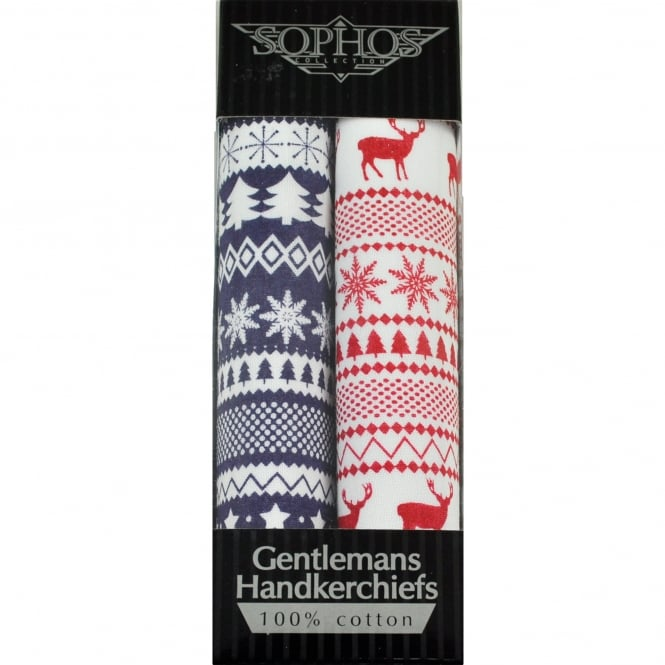 White, Blue & Red 2 Pack Christmas Handkerchief Set