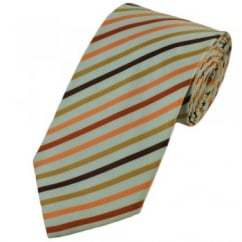 White, Brown, Gold & Orange Striped Extra Long Tie