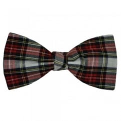 White Dress Stewart Tartan Patterned Bow Tie by Van Buck