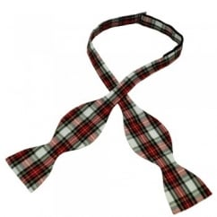 White Dress Stewart Tartan Patterned Self Tie Bow Tie