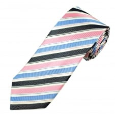 White, Light Blue, Navy Blue & Pink Striped Luxury Men's Silk Tie