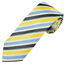 White, Light Blue, Navy Blue & Yellow Striped Luxury Men's Silk Tie