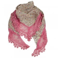 White, Pink & Apricot Flowers Floral Scarf edged in Pink Lace