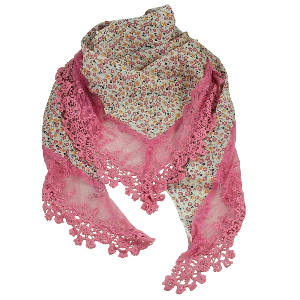 White Pink Apricot Flowers Floral Scarf Edged In Pink Lace