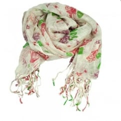 White, Red, Blackcurrant & Green Roses Long Floral Evening Scarf, Shawl.