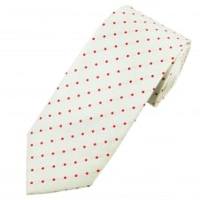White & Red Polka Dot Silk Tie