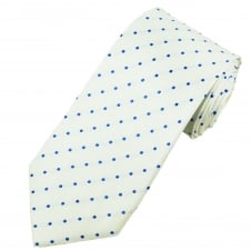 White & Royal Blue Polka Dot Silk Tie