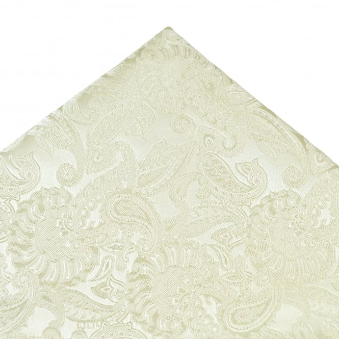 White Self Paisley Patterned Silk Pocket Square Handkerchief