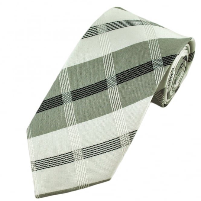 White, Silver & Black Checked Boys Tie