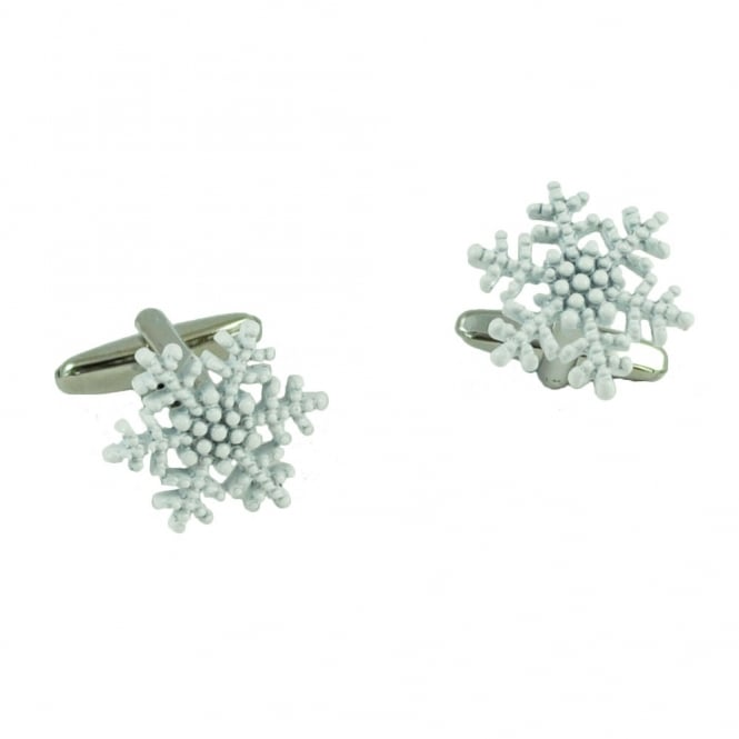 White Snowflake Christmas Cufflinks