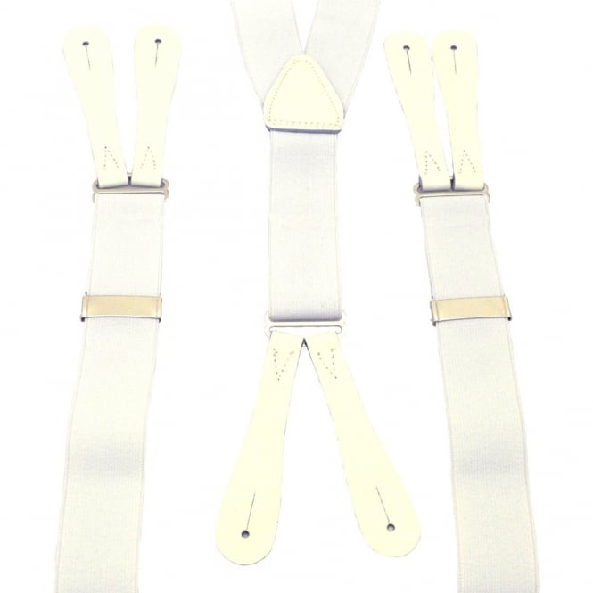 White Trouser Braces with White Leather Ends