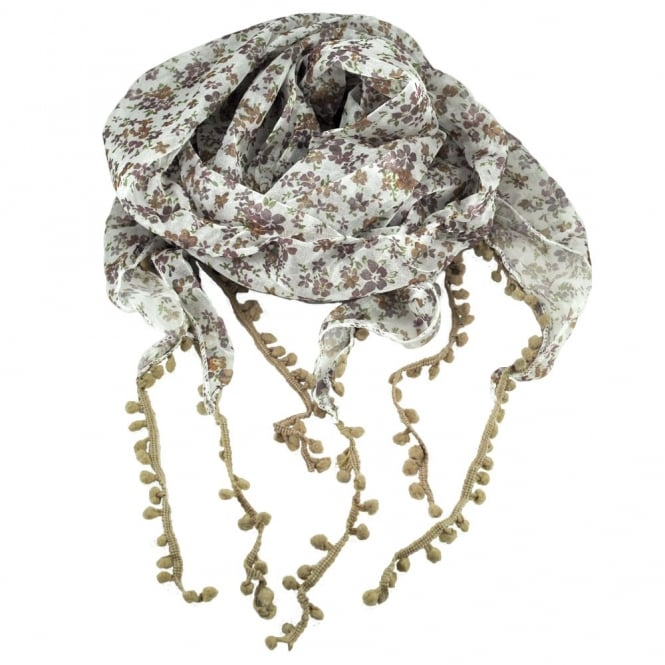 white with maroon and beige brown flowers and pom pom fringing floral scarf