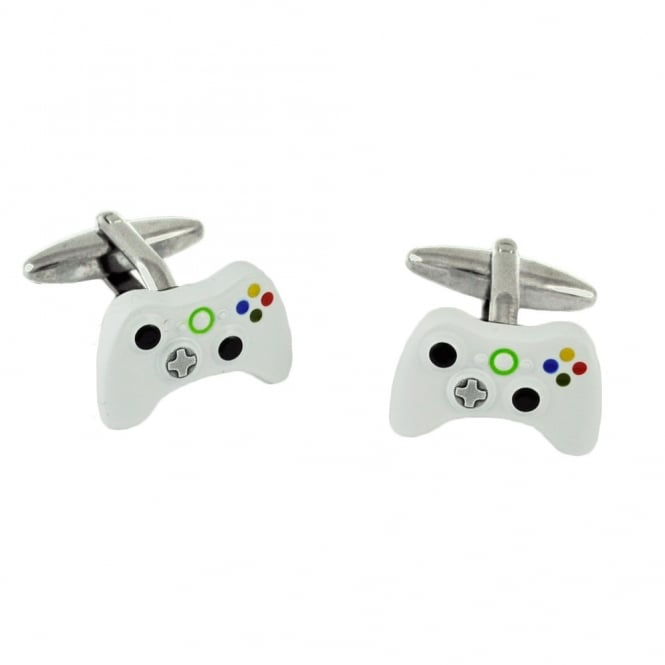 White X Box Style Video Game Console Controller Cufflinks