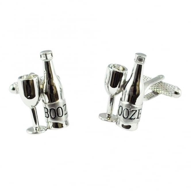 wine bottle and glass novelty cufflinks