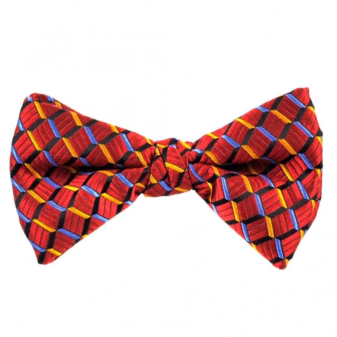 Wine Red, Black, Blue & Yellow Zig Zag Patterned Silk Bow Tie