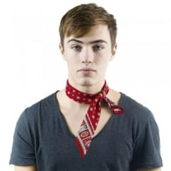 Wine Red Diamond Patterned Bandana Neckerchief