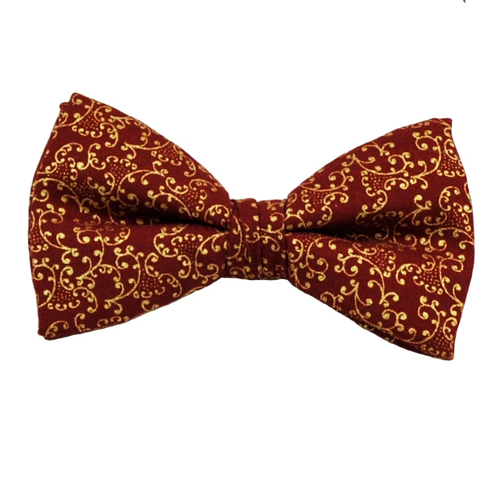 wine gold floral patterned bow tie from ties planet uk