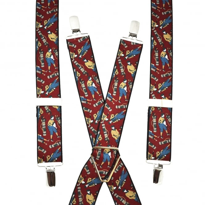 Wine Red Golf Trouser Braces