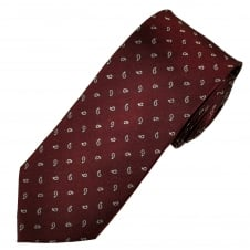 Wine Red & Grey Paisley Patterned Men's Silk Tie
