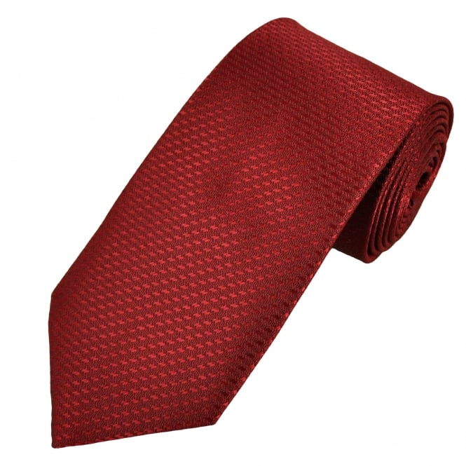 Wine Red Houndstooth Patterned Men's Tie