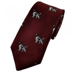 Wine Red Hunting Dog Silk Country Tie by Van Buck